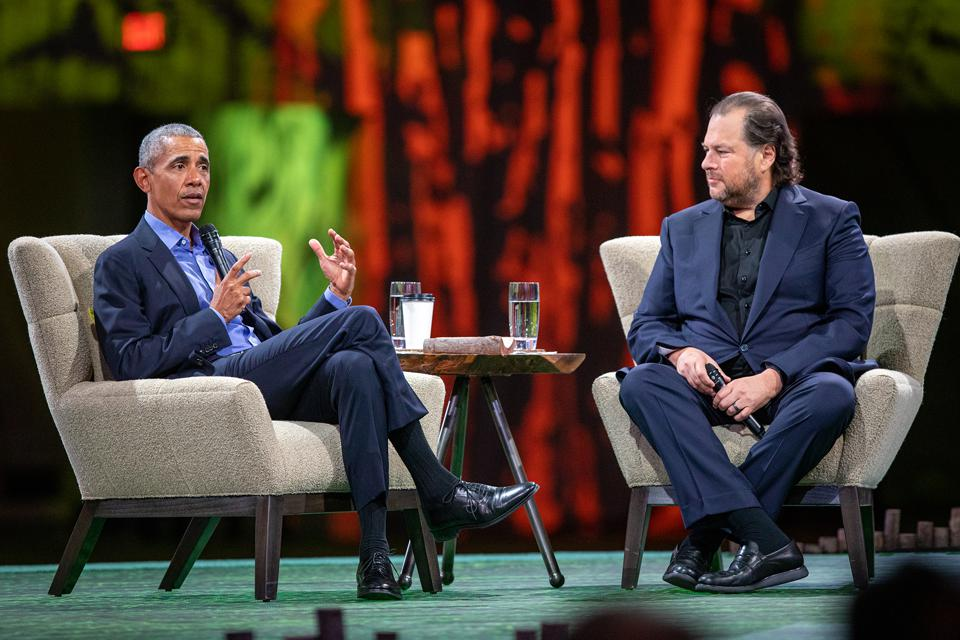 President Barack Obama speaks with Salesforce billionaire founder and CEO Marc Benioff.