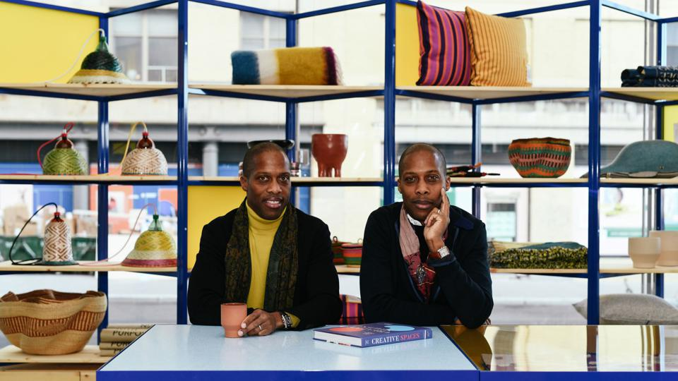 Twin brothers, and founders of Goodee, Byron aand Dexter Peart, in the Goodee pop-up shop at the Whitney Museum.