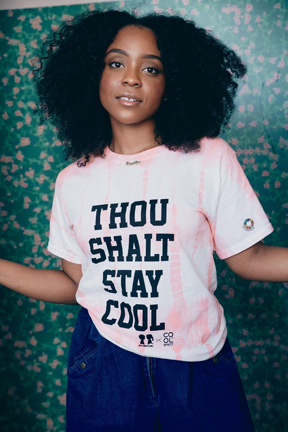 Woman in a t-shirt that says, ″Thou Shalt Stay Cool″