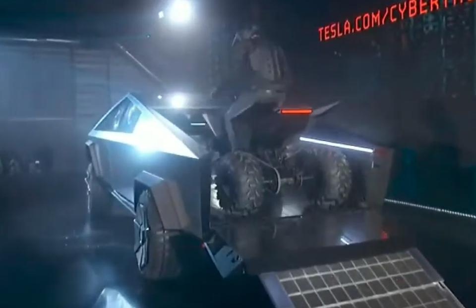 Tesla ATV fits right in the cargo area of the Tesla Cybertruck