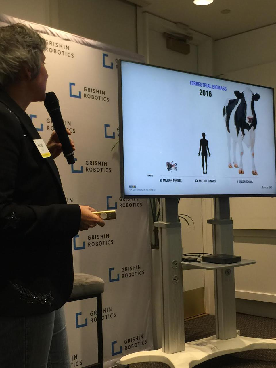 Impossible Foods' Rachel Konrad explaining meat consumption over the past 10,000 years