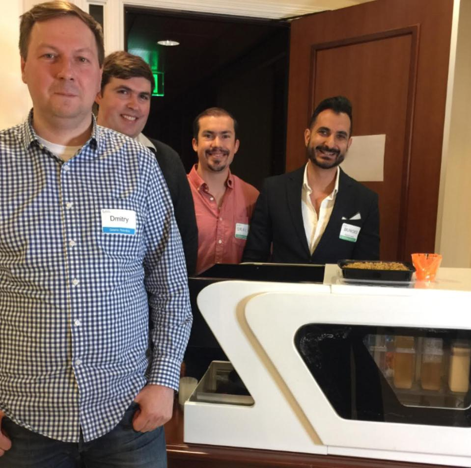 Grishin Robotics' Dmitry Grishin and Freddy Dopfel with RoboCuisine's Derick Johnson and Burges Karkaria