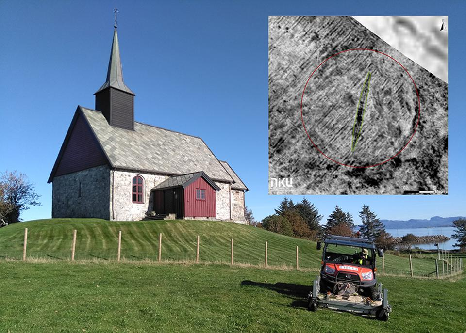 Edøy church in Norway with the georadar discovery of the Viking ship.
