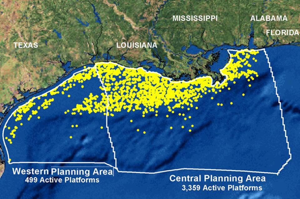 NOAA, oil rigs, Gulf of Mexico