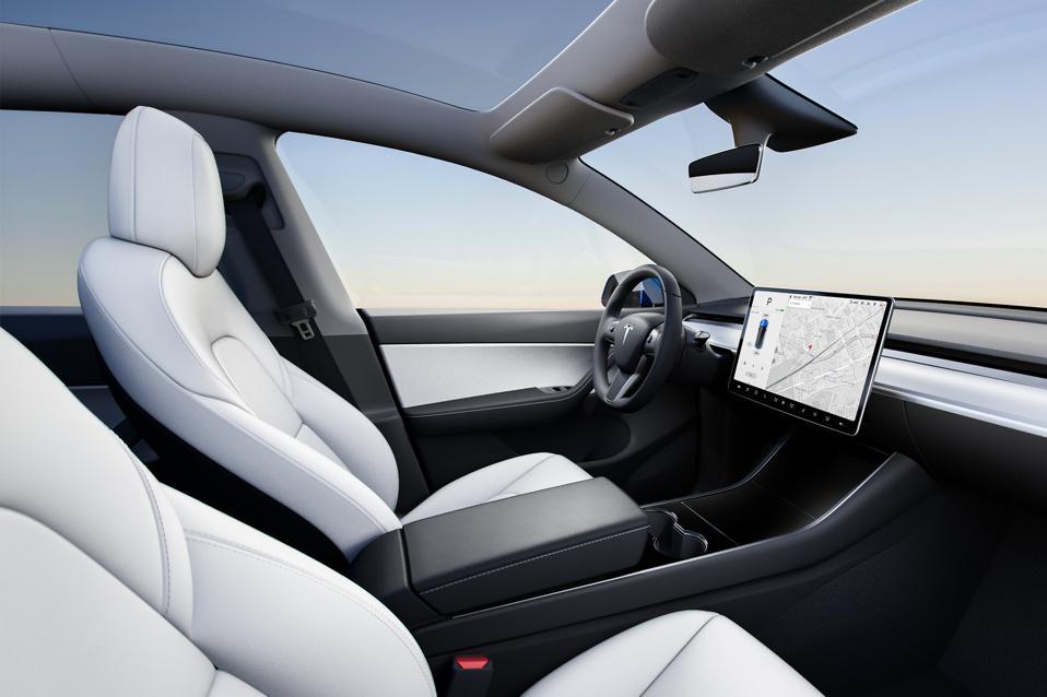 The interior of the Tesla Model Y.