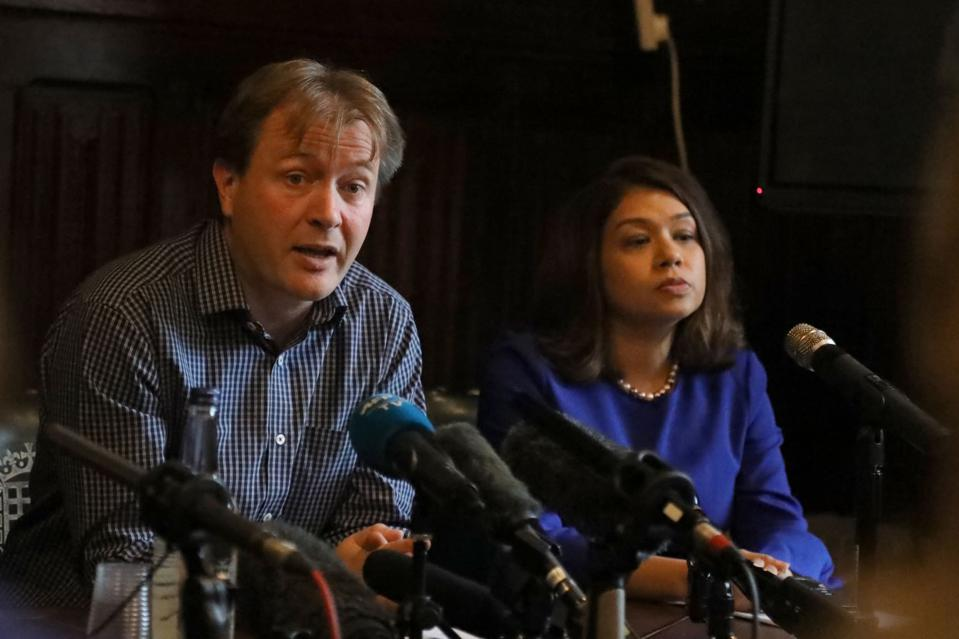Richard Ratcliffe (L) speaks at a press conference in Westminster with Tulip Siddiq MP on October 11, 2019, following the return of his daughter Gabriella Zaghari-Ratcliffe to the UK; his wife Nazanin Zaghari-Ratcliffe remains in Iran in jail.