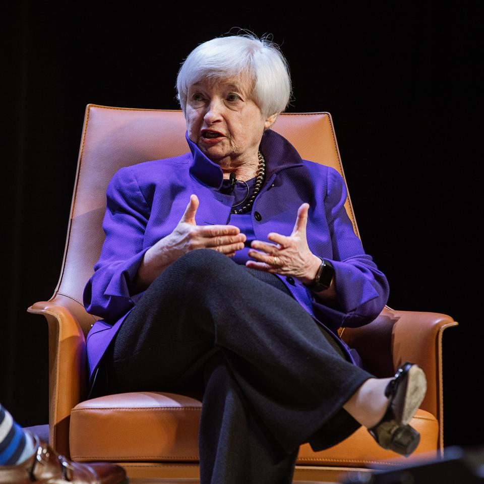 Janet Yellen on stage at the World Business Forum in New York.