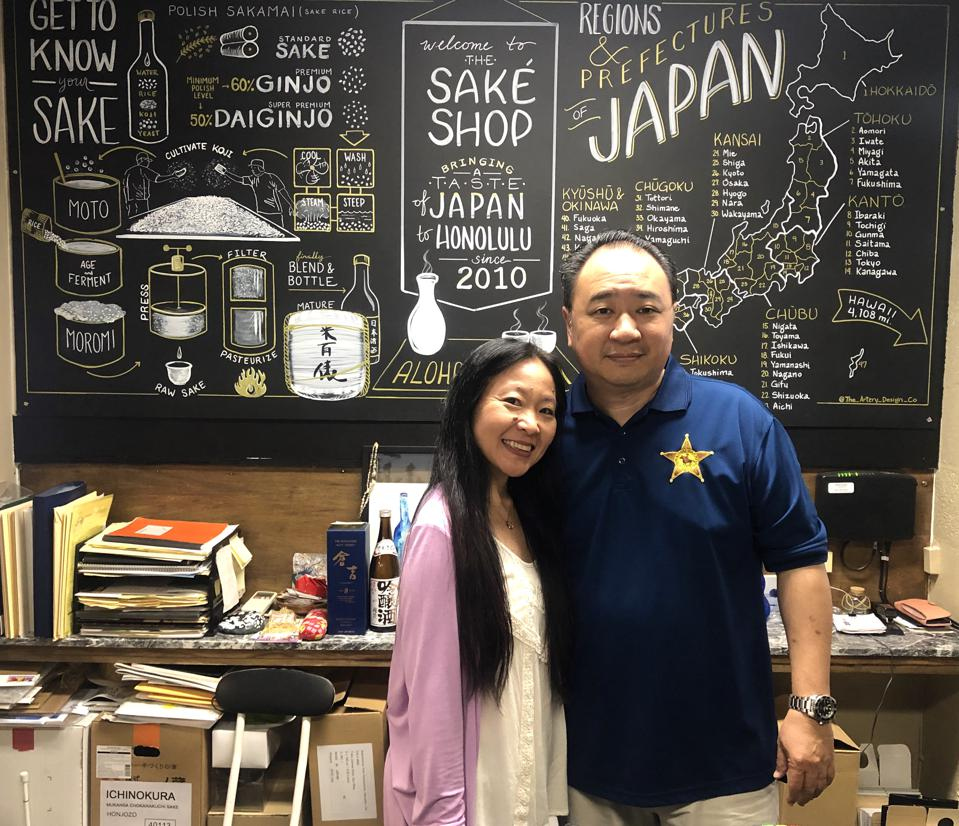 Nadine and Malcolm Leong, owners of the Sake Shop in Honolulu, Hawaii.