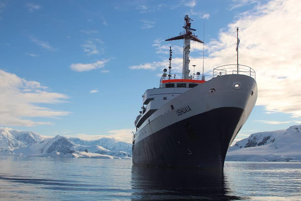 The Ushaia ship with iceberg.
