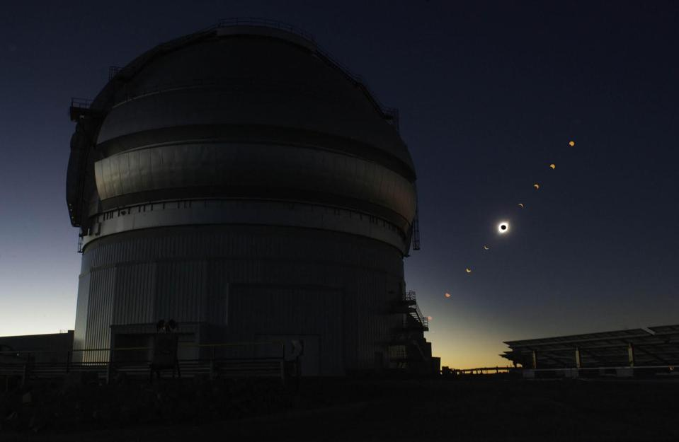 The LSST is being built next to the Gemini South Observatory on Cerro Pachn in Chile on a sight where astronomers witnessed a two-minute total solar eclipse on July 2, 2019.