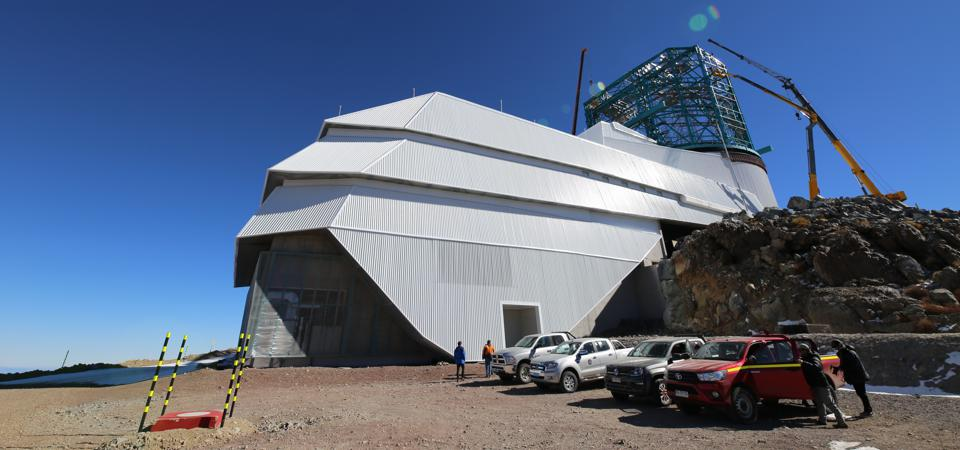 The exterior of the now-being-built LSST on Cerro Pachón.