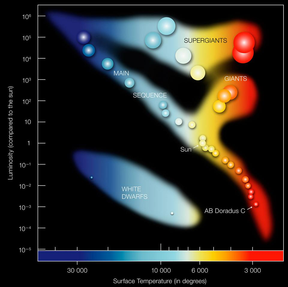 In the Hertzprung-Russell diagram the temperatures of stars are plotted against their luminosities. The position of a star in the diagram provides information about its present stage and its mass. Stars that burn hydrogen into helium lie on the diagonal branch, the so-called main sequence. Red dwarfs like AB Doradus C lie in the cool and faint corner. AB Dor C has itself a temperature of about 3,000 degrees and a luminosity which is 0.2% that of the Sun. When a star exhausts all the hydrogen, it leaves the main sequence and becomes a red giant or a supergiant, depending on its mass (AB Doradus C will never leave the main sequence since it burns so little hydrogen). Stars with the mass of the Sun which have burnt all their fuel evolve finally into a white dwarf (left low corner).