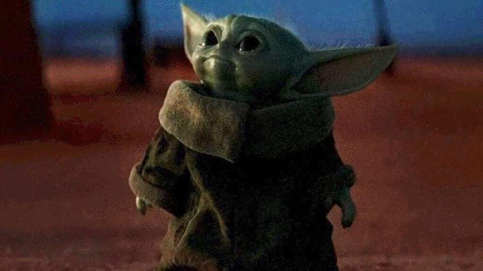 Me looking at the mountain of Baby Yoda toys about to arrive