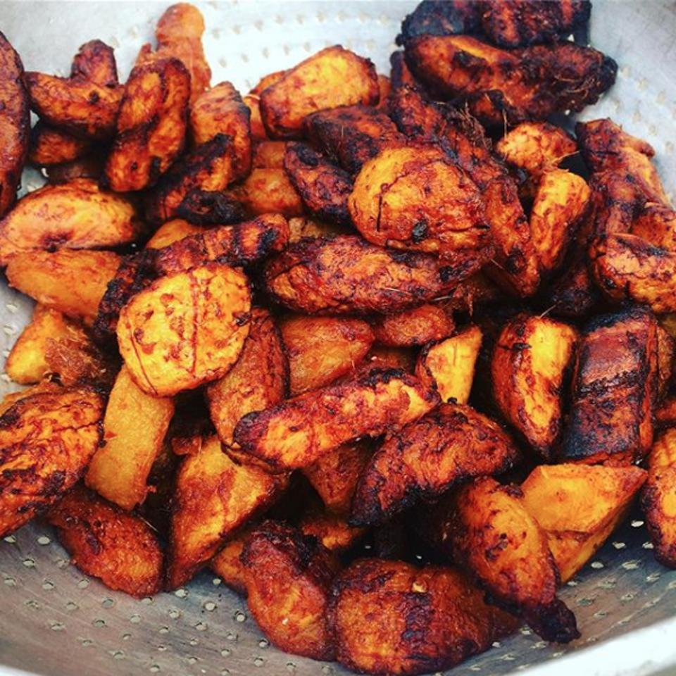 Kelewele, fried plantain marinated in ginger and spices.