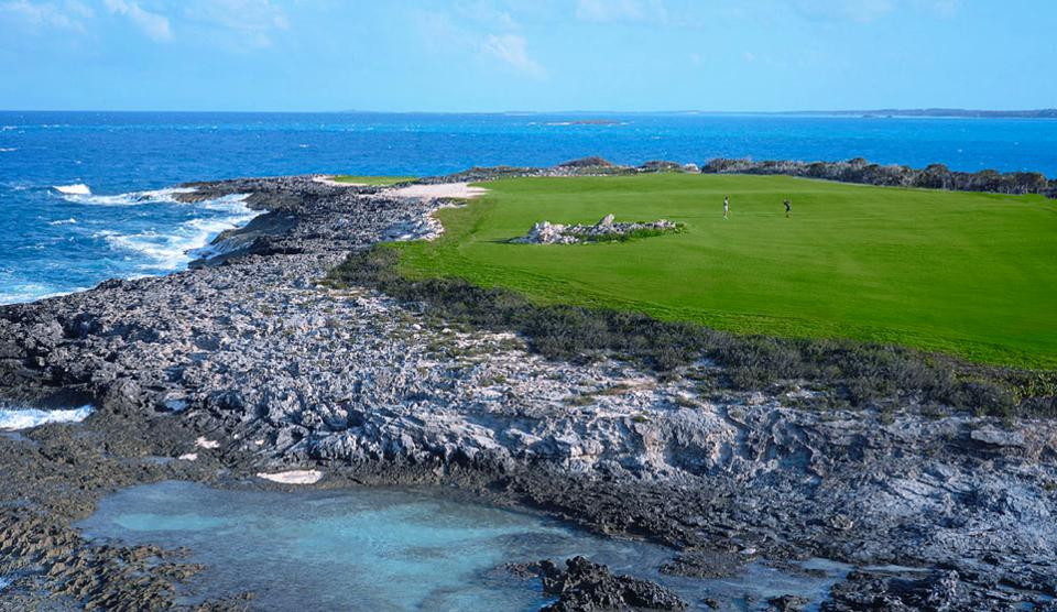 A view of Hole No. 15 at the Greg Norman-designed golf course Sandals Emerald Bay, in Exuma, Bahamas.