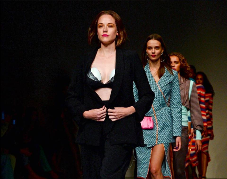 The Elvie Pump revealed at London Fashion Week during Marta Jakubowski's SS19 fashion show.