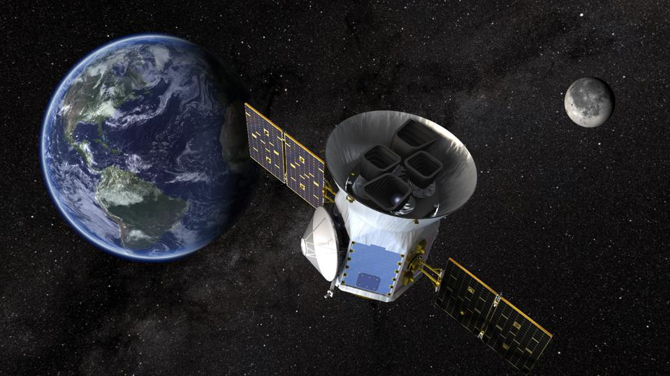 NASA's Transiting Exoplanet Survey Satellite (TESS), shown here in a conceptual illustration, will identify exoplanets orbiting the brightest stars just outside our solar system.
