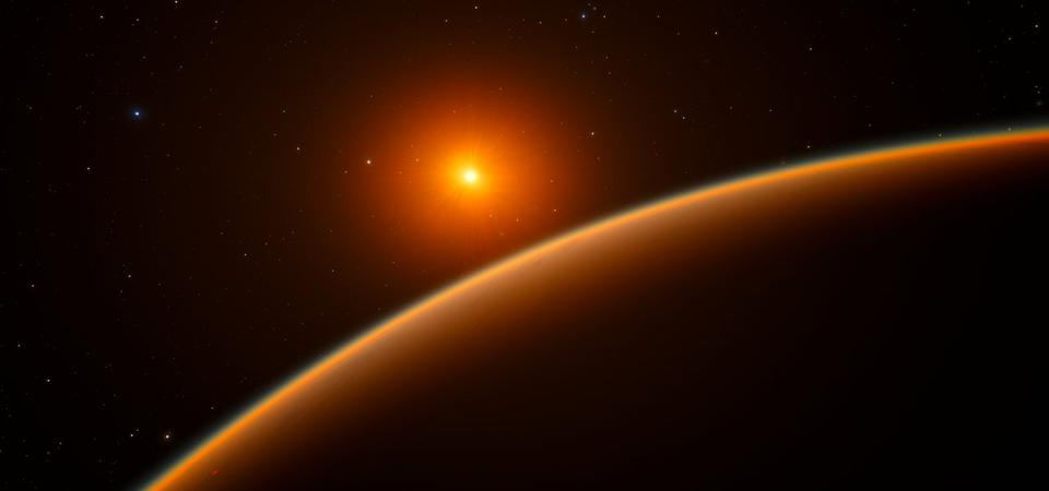 """This artist's impression shows the exoplanet LHS 1140b, which orbits a red dwarf star 40 light-years from Earth and may be the new holder of the title """"best place to look for signs of life beyond the Solar System""""."""