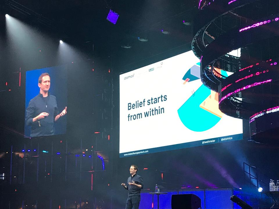 Tom Wehmeier, Partner at Atomico, launching the State of European Tech Report at Slush 2019