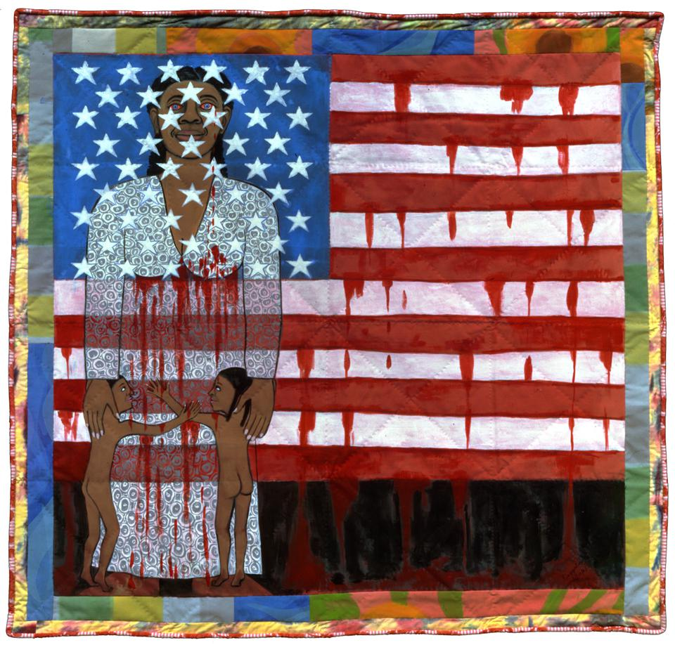 Faith Ringgold, 'The Flag is Bleeding #2 (American Collection #6),' 1997, acrylic on canvas, painted and pieced border, 193 x 200.7 cm, 76 x 79 in.