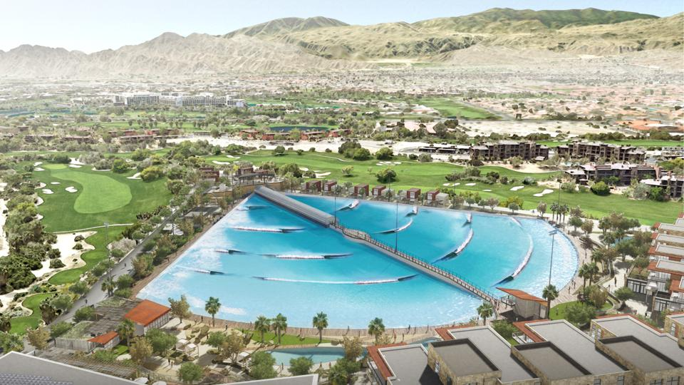 Aerial view of DSRT Surf Resort in Palm Desert, California