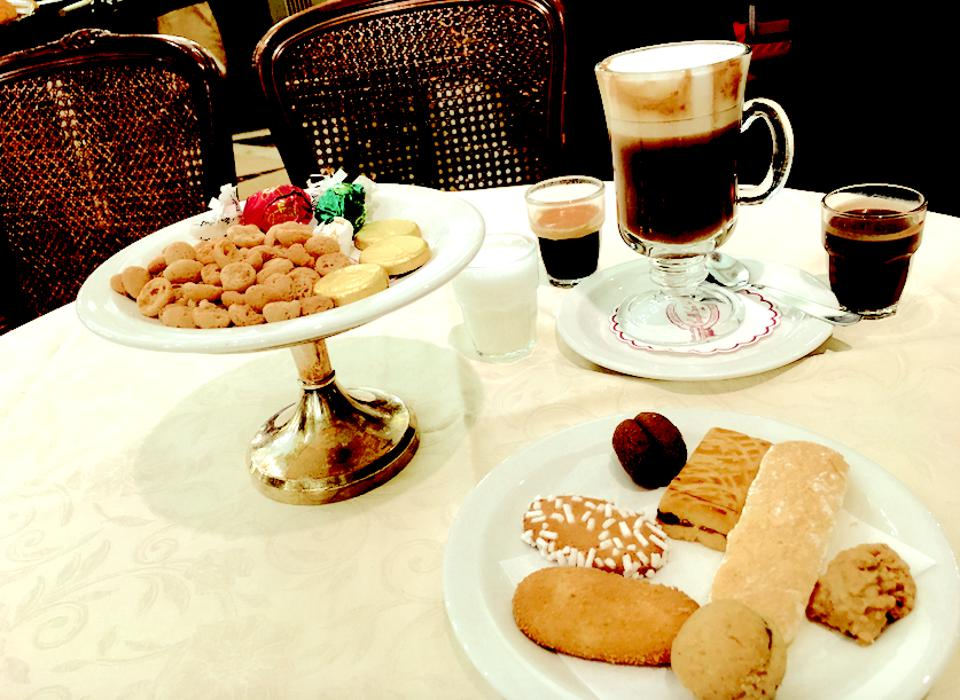 Elements of the 19th-century Merenda Reale at Caffè San Carlo.
