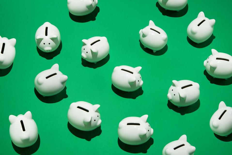 Random little white piggy banks