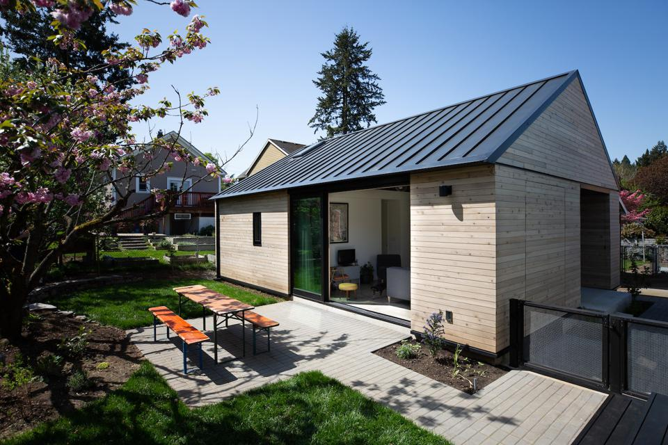 A 624 square foot Accessory Dwelling Unit in Portland, Ore. It includes a patio and small picnic table.