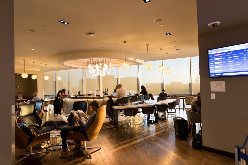 BOSTON, MA - View of the bar at the BA Lounge at Boston's Logan Airport