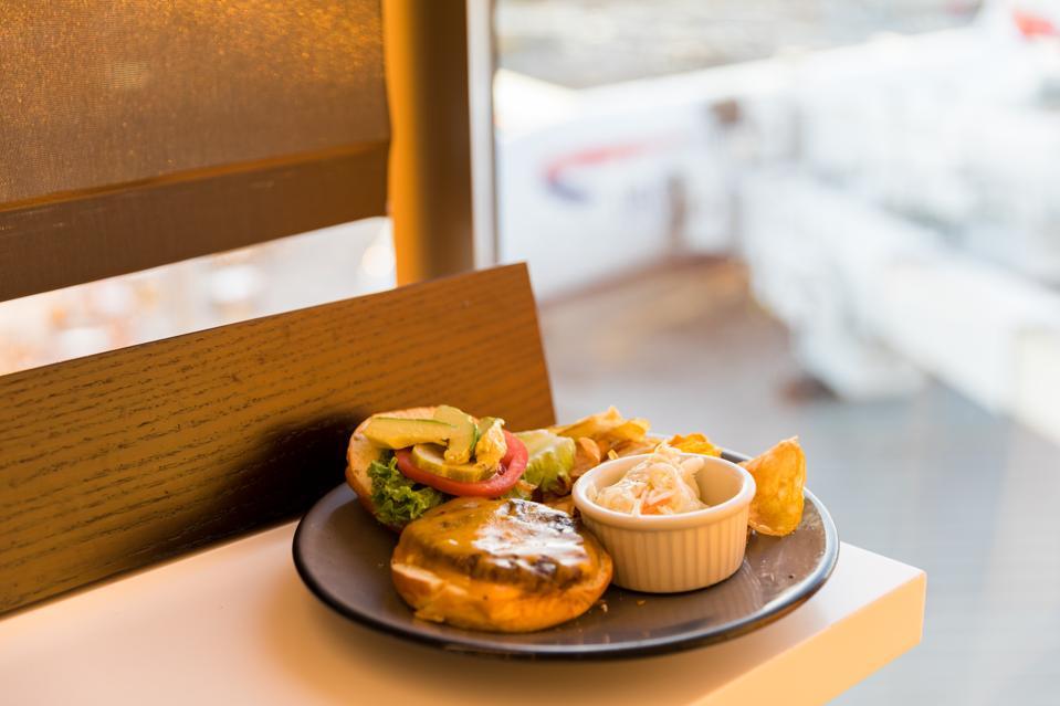 BOSTON, MA - The BA Burger at the British Airways Lounge at Logan Airport's Terminal E