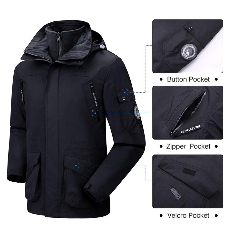CAMEL CROWN Men's 3-in-1 Ski Jacket Warm Winter Coat Mountain Snow Jacket for Rain Outdoor Hiking