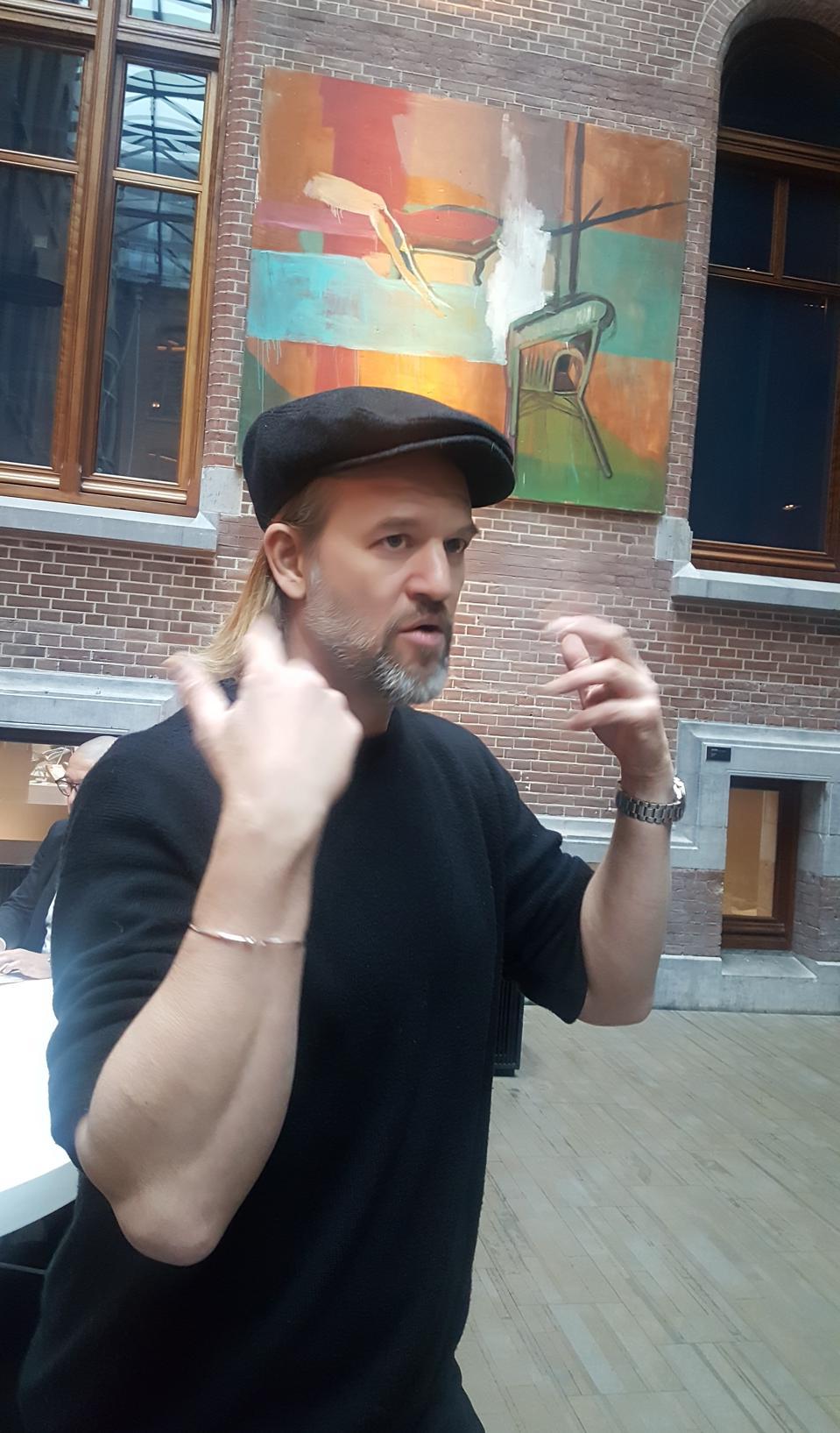 Amsterdam artist Jasper Krabbé at the Conservatorium Hotel where his paintings feature
