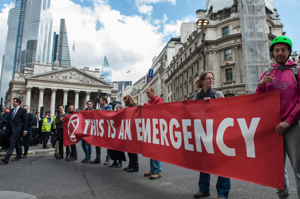 Extinction Rebellion Protest Outside The Bank Of England