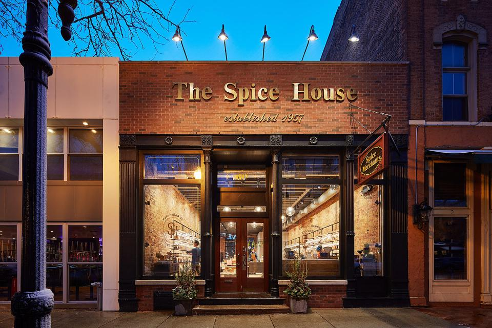Renovated exterior of the historic Spice House, which re-opened at 1512 North Wells Street in Chicago's Old Town.