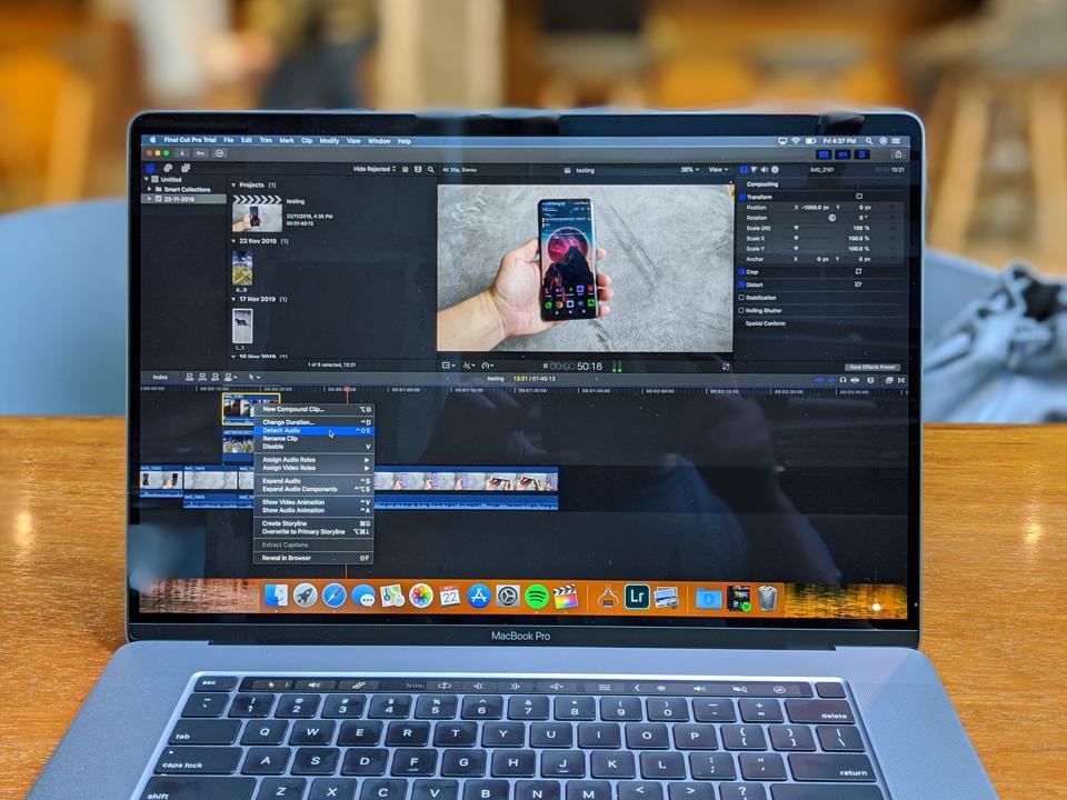 The 2019 MacBook Pro running Final Cut Pro.