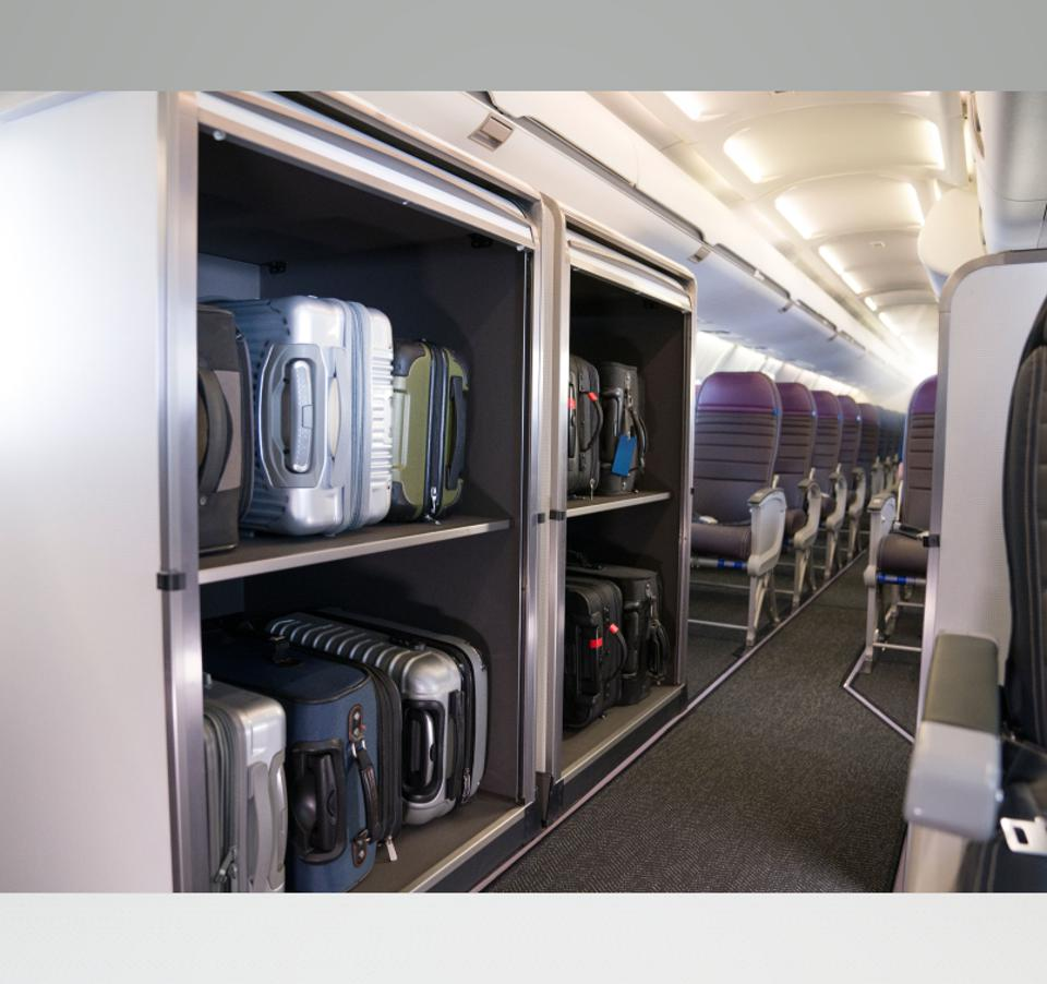 The United Airlines CRJ-550 has extra room for bags.