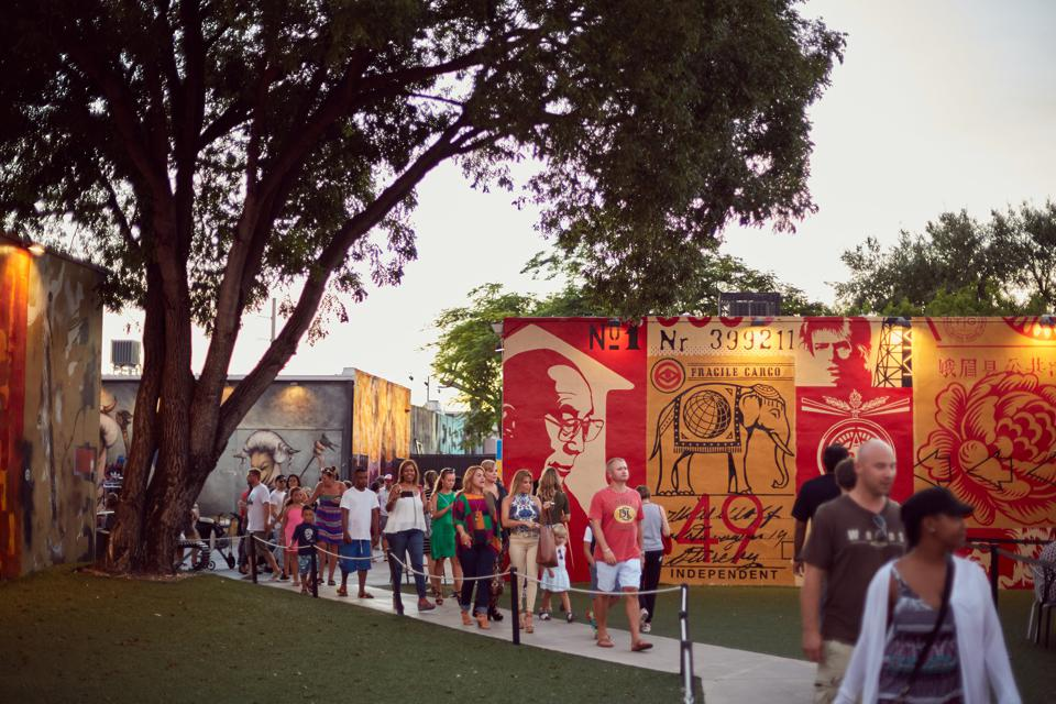 Visitors enjoy strolling through Wynwood Walls.