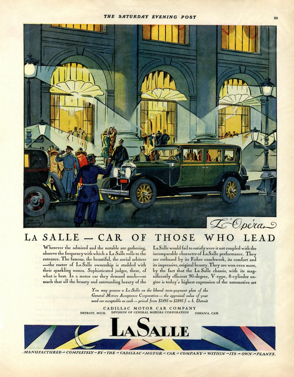An advert for the GM LaSalle from a series showing the car in various European locations