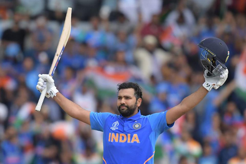 Rohit Sharma celebrates a win for India during the Cricket World Cup.