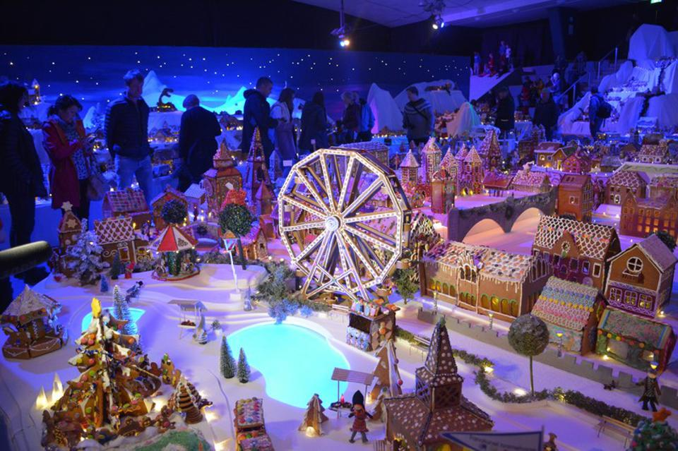 Visitors look out over part of Pepperkakebyen, Bergen's gingerbread town