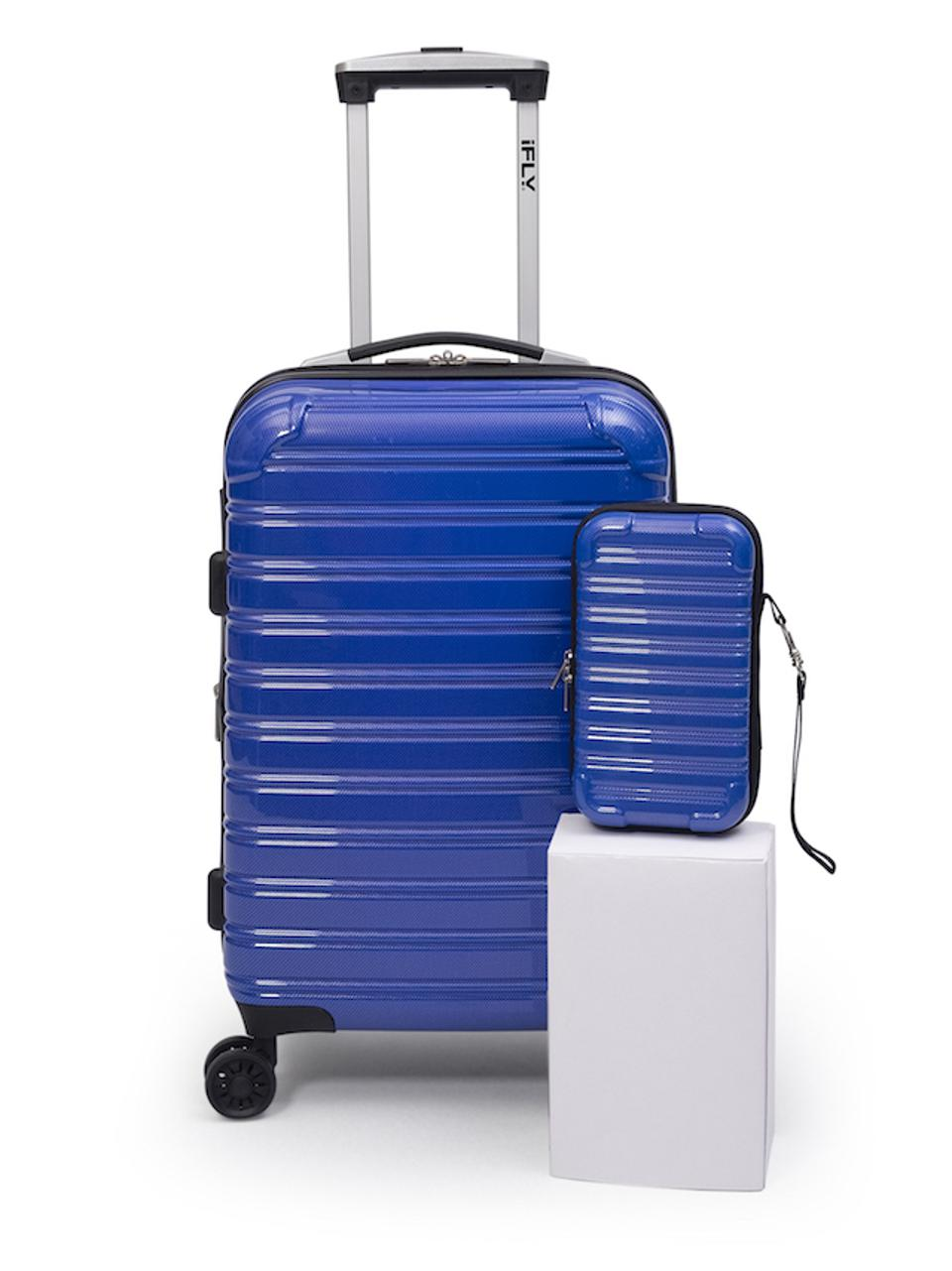 iFLY Luggage electric blue carry-on and mini case