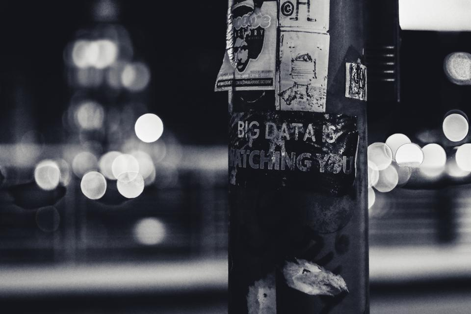 Big Data is Watching pasted on a public pole