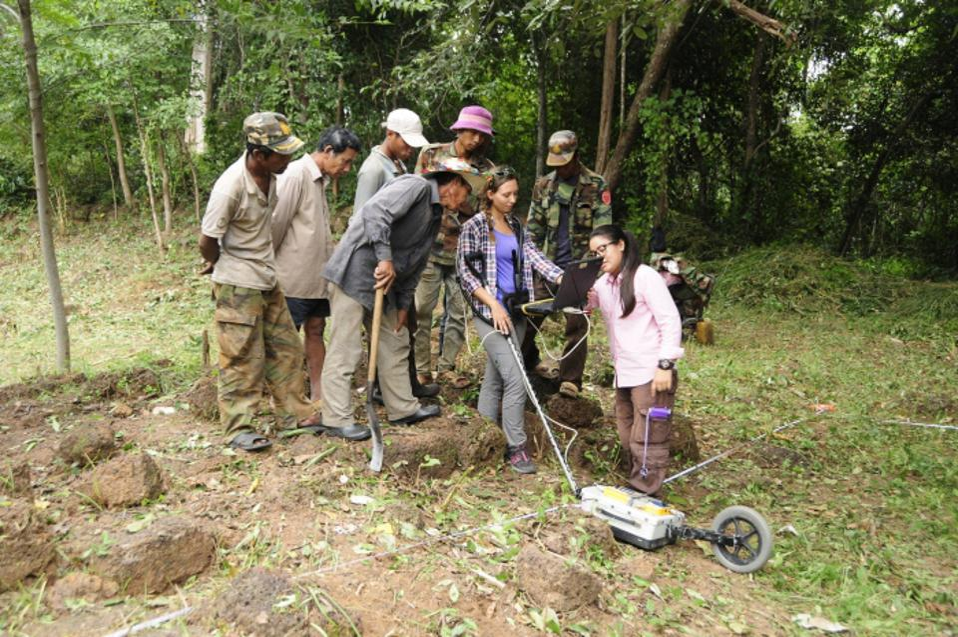 GeoRADAR in use in the jungle of Cambodia.