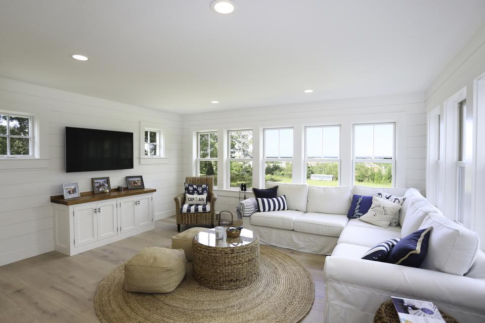 This Oak Bluffs living room has engineered wood flooring.