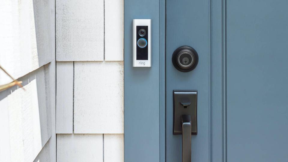Ring Video Doorbell Pro outside of a door.