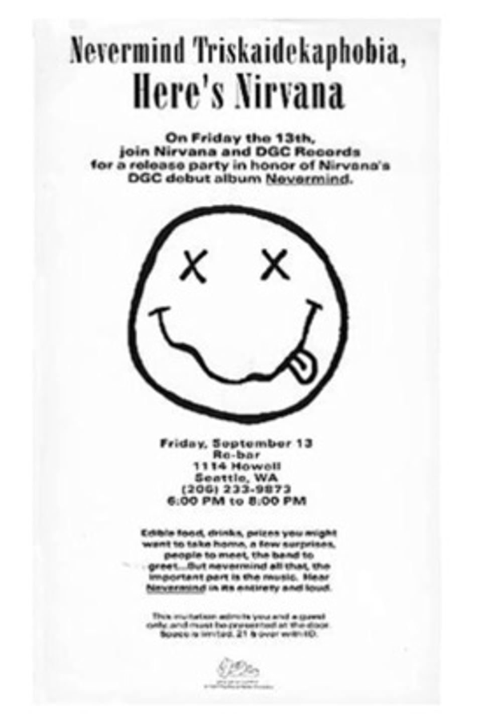 Invitation to Nirvana's release party for debut album ″Nevermind″