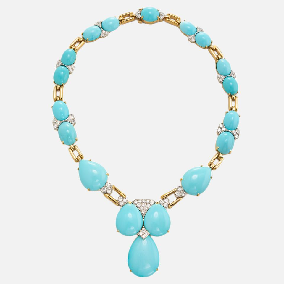 Turquoise, Diamond and Gold Necklace by David Webb
