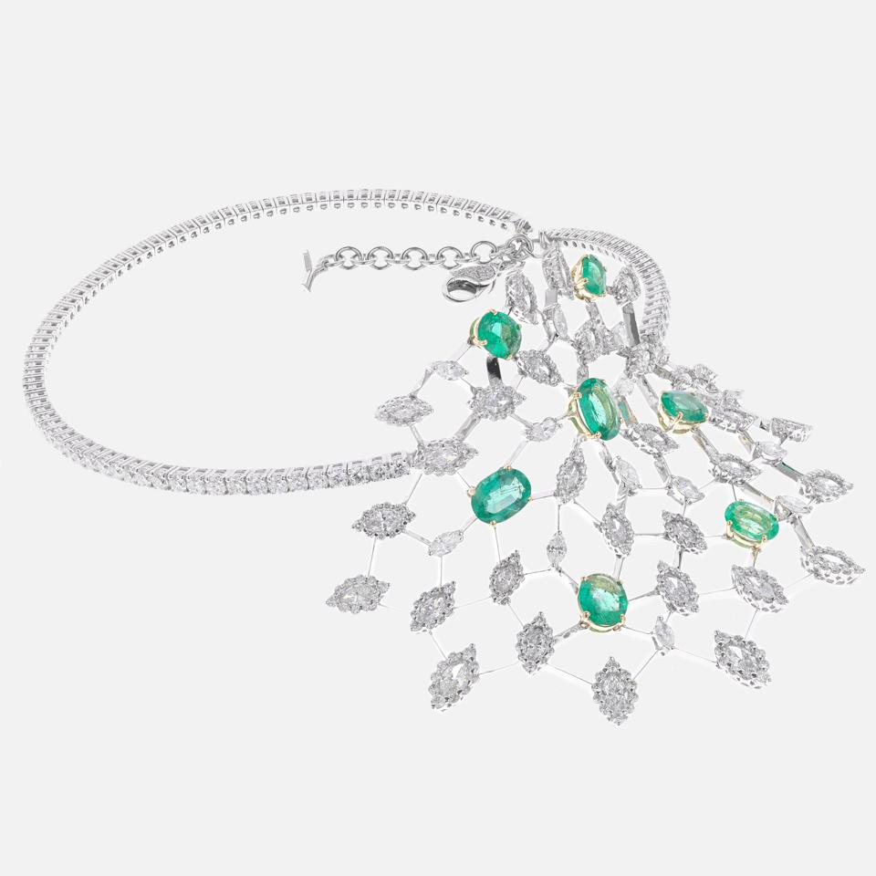18K White Gold, Diamonds and Emeralds Necklace by Yeprem