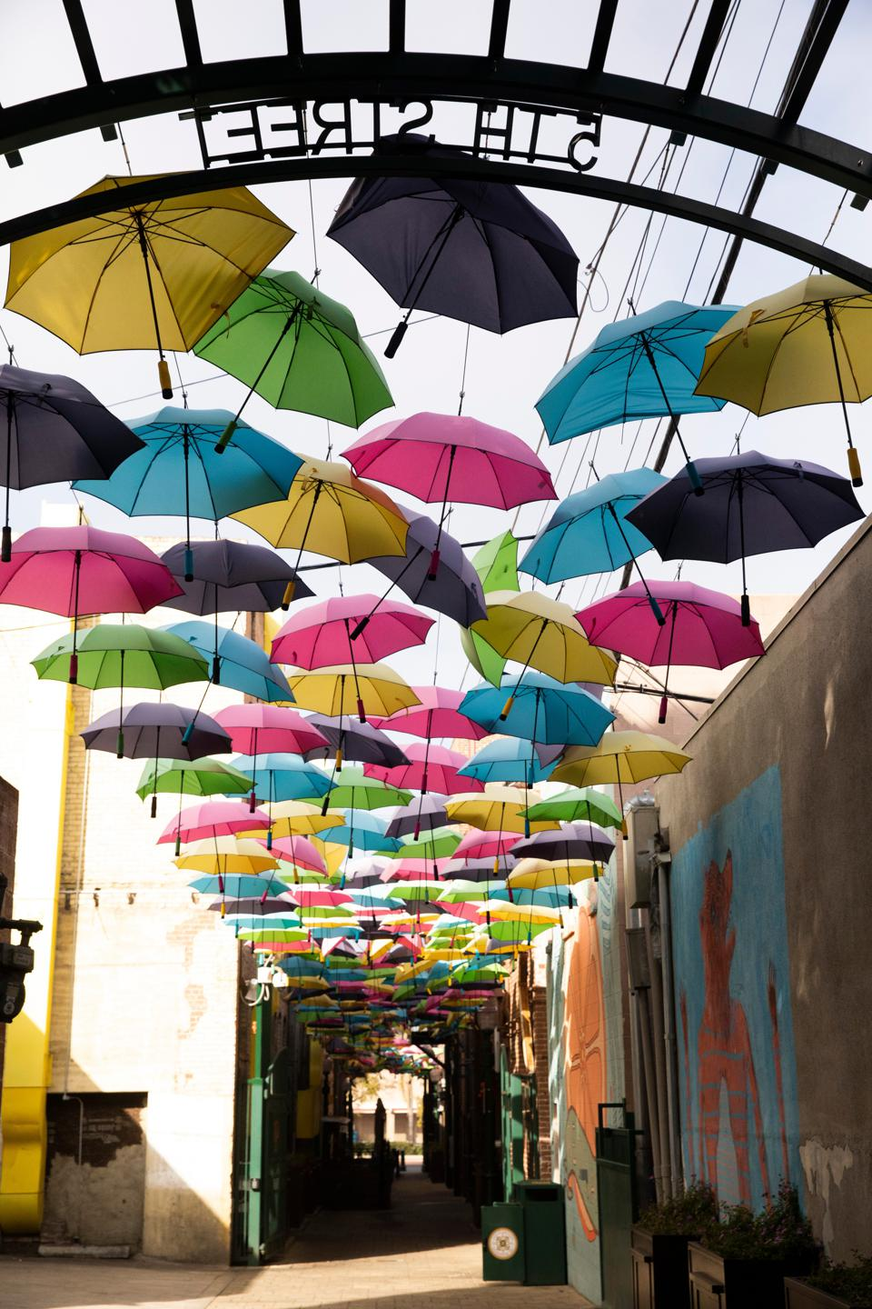Umbrellas in an alley