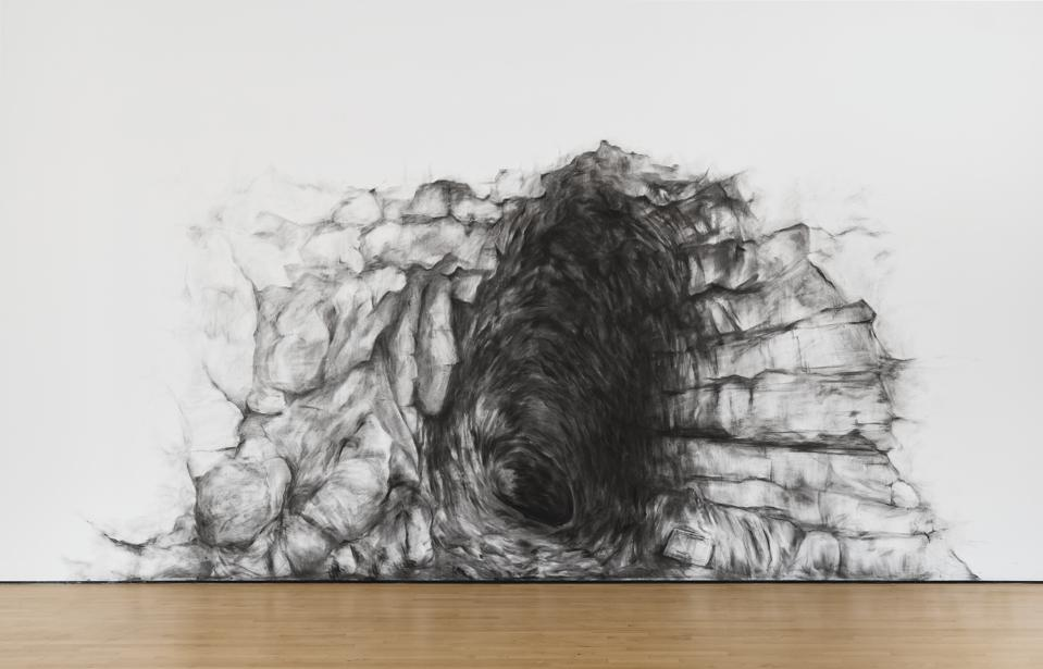 Pratchaya Phinthong. A whole from a different half, 2018. Charcoal and powdered pigment. Photo: Glenn Cheriton/SFMOMA.